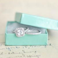 Wedding Ring Set - Cushion Cut Ring - Sterling Silver Ring - Engagement Ring - Cubic Zirconia Set - Halo Engagement Ring