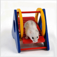 Wooden Hamster Cage Hamster Toy Gerbil Chew Toys Ladder Seesaw Pet Toy