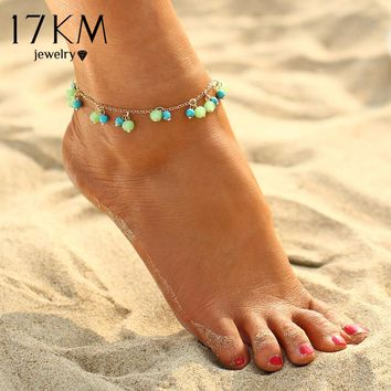 17KM 1PCS Beads Pendant Beach Anklets for Women 2 Color Sexy Boho Anklets Foot Chain Charm Jewelry Gift free shipping