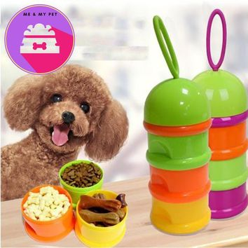 Puppy Cat Snacks Bowl 3 Layer Portable Pet Dog Food Container Storage Box Outdoor Travel Feed Preservation container