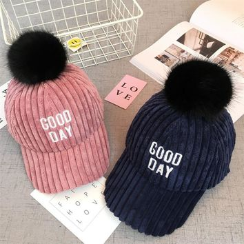 Spring Autumn Winter New Children's Hat Adjustable Ball Six Colors Nagymaros Corduroy Warm Sun Dome Baseball Cap for Kids
