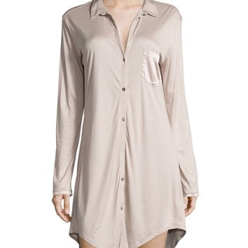 Grand Central Boyfriend Sleepshirt, Coffee Cream, Size: