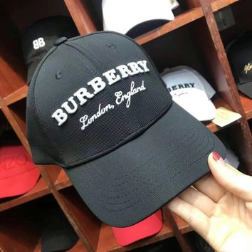 """""""Burberry"""" Unisex Simple Fashion Letter Embroidery Flat Cap Baseball Cap Couple Casual All-match Sun Hat"""