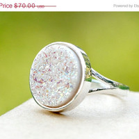 40% Off Geode Ring,Statement Ring,Agate Ring,Sparkle Ring,Druzy Ring,Drusy Ring,Drusy Quartz,Stone Ring,Jewerly,Quartz Ring,Cocktail ring,dr