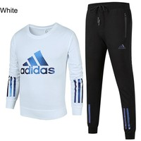 ADIDAS autumn and winter new sports and leisure men's two-piece suit White