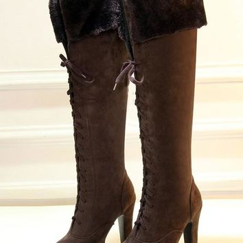 New Women Brown Round Toe Chunky Lace-up Add Feathers Casual Over-The-Knee Boots