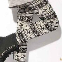 Fashion clothing Snowflake & Deer Pattern Christmas Leggings Flannel new arrival