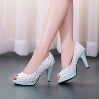 Elegant Women's Summer Lace Peep Toes Platform Pump High Heel Party Shoes Size