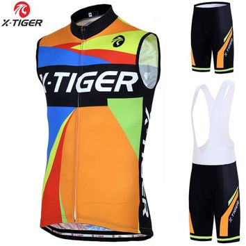 X-Tiger Pro Summer Sleeveless Cycling Vest MTB Bicycle Clothing Racing Bike Jersey Sportswear Clothes Maillot Ropa De Ciclismo