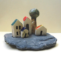 White miniature ceramic houses and olive tree, beach stone, Home decoration, office decor, for him, for her, housewarming gift, handmade