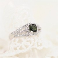 Magic Pieces Sterling Silver Ring with Green Round Shape Tourmalines and CZ J1122