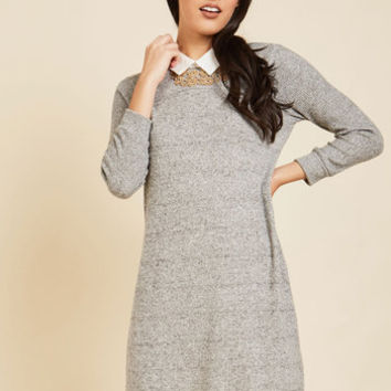 Ardent Academic Sweater Dress in Fossil | Mod Retro Vintage Dresses | ModCloth.com