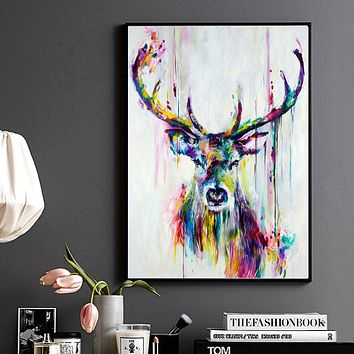 Canvas Wall Art: Abstract Watercolor Print Stag Deer Head Wall Art on Canvas