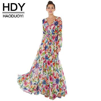 HDY Haoduoyi Multi Women Floral Maxi Dresses Boho Beach V Neck Long Sleeve High Waist Dress Ladies Floor-Length Ball Gown