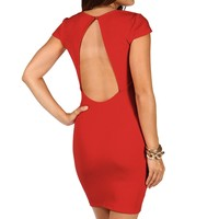 Sale-red Textured Short Dress
