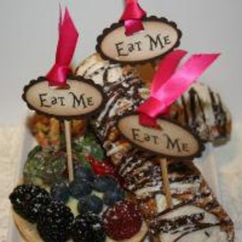 Eat Me Cake Topper Picks Alice in Wonderland by AnistaDesigns