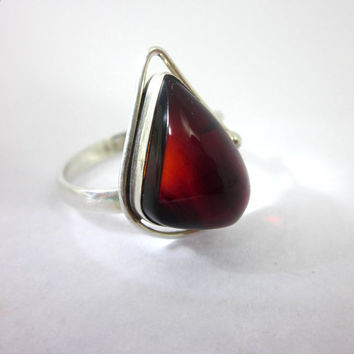 Red Amber Ring, Women's Amber Jewelry, Red Stone Jewelry