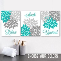 Turquoise Gray BATHROOM DECOR, Bathroom WALL Art, Canvas or Print Floral Bathroom Wall Decor, Relax Soak Unwind, Bathroom Quotes, Set of 3