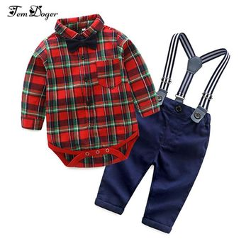 Tem Doger Baby Boys Clothing Sets Newborn Boy Clothes Long Sleeve Plaid Rompers+Suspender Trousers+Tie Bebes 3PCS Outfits Set
