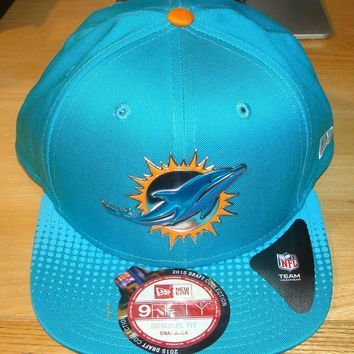 Miami Dolphins New Era Teal 2015 NFL Draft Snapback 9FIFTY Hat Cap Adjustable OS