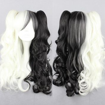 High Quality Long Curly Wavy Monokuma Wig Anime Danganronpa Dangan Ronpa Synthetic Hair Cosplay Wig Ponytail Wigs
