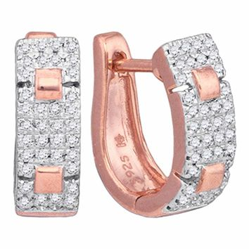10kt Rose Gold Womens Round Diamond Huggie Hoop Earrings 1/4 Cttw