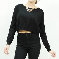 Long sleeve boxy knit crop top sweater Black