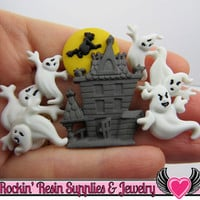 Jesse James Buttons 7 pc a BEWARE of GHOSTS Halloween Buttons