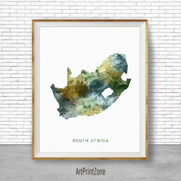 South Africa Art, Travel Map, South Africa Map Art, Travel Decor, Travel Prints, Living Room Wall Art, Office Pictures, Art Print Zone