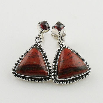 Red Jasper & Garnet Sterling Silver Earrings