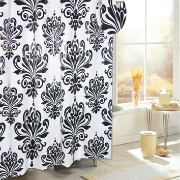 Royal Bath Easy On PEVA Shower Curtain Liner w/ Built in Hooks - Black/White
