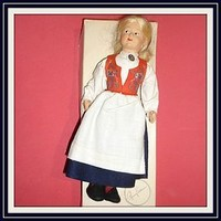 """Ronnaug Pettersen - Celluloid Doll - With Original Box Top - 9 1/2"""" (item #1292082)"""