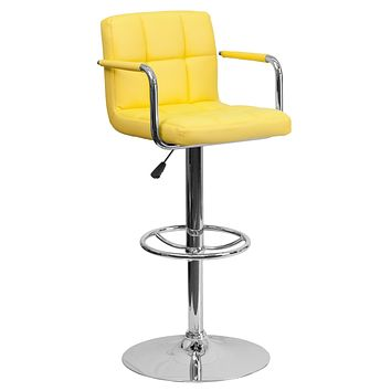 Contemporary Quilted Vinyl Adjustable Height Bar Stool with Arms and Base