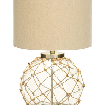 Beautiful Glass Metal Table Lamp with Space Efficient