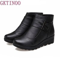 2017 Snow boots shoes women genuine leather large yard winter boots women boots warm p