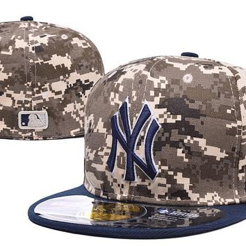 PEAPON New York Yankees 59FIFTY MLB Baseball Cap Cool Base Camouflage