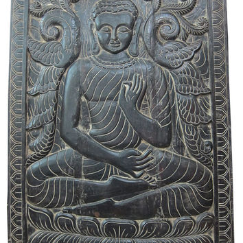 Indian Door panel Vitarka Mudra Teaching Buddha // Discussion and Transmission of Buddhist teaching