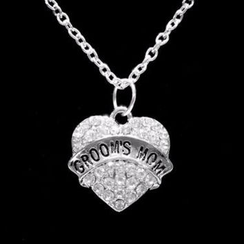 Crystal Groom's Mom Heart Gift Wedding Mother Of The Groom Necklace