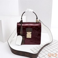 HCXX 19Aug 658 Louis Vuitton LV M90375 Spring Street Handle Quilted Bag Patent Leather Box Bag Fashion Flap Bag 17-16-8.5cm