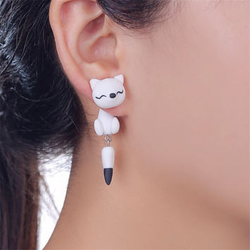 2016 Hot White Fox Earrings Handmade Polymer Clay Earrings Cartoon Fox Earrings Animal Earring For Women Gift ER0001-11