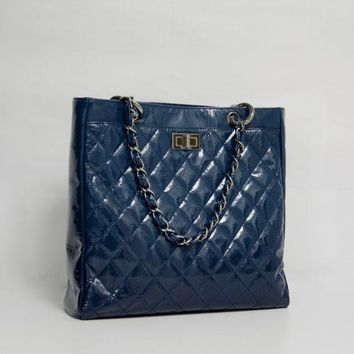 LMF3DS Chanel Blue Small Diamond Shine Reissue Tote