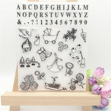 Baby Tools and Letters Transparent Clear Stamp DIY Silicone Seals Scrapbooking/Card Making/Photo Album Decoration Supplies