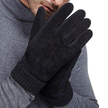 LETHMIK Mens Black Winter Gloves Suede Leather Knit Cuff with Thick Fleece Lining