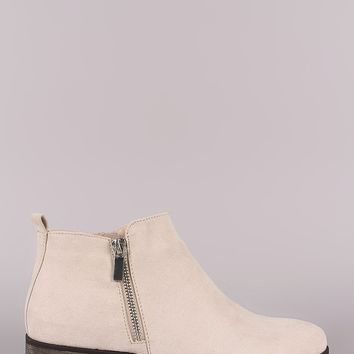 Bamboo Suede Zipper Trim Almond Toe booties