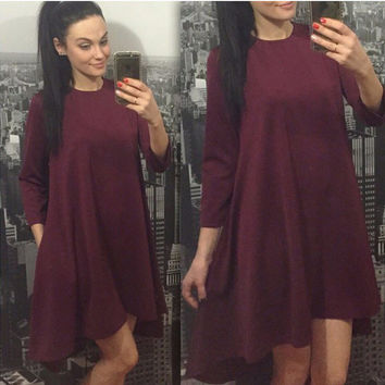 Red Wine Asymmetric Flounce Dress