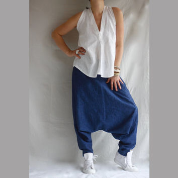 Bohemian Linen Pants XXL XXXL  Wide Leg Drop Crotch Pants Baggy Pants Plus Size Clothing Linen Plus Size Trousers Boho Pants Denim Linen