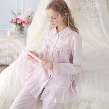 Pajamas Pure Cotton Princess Long-Sleeved  Lace Sleepwear