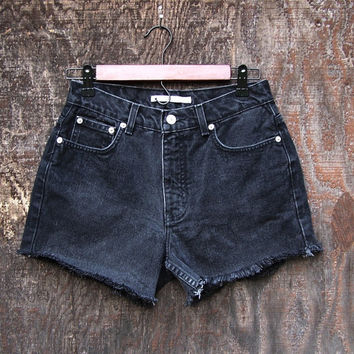 "Upcycled womens Tommy Hilfiger high waisted denim booty shorts cut offs black denim frayed 28"" waist"