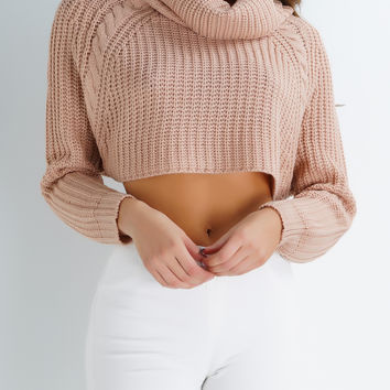 Cedar Knit Crop Sweater - Nude