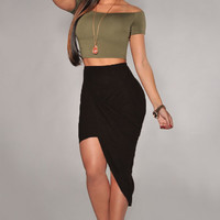 Black Asymmetrical Draped Bodycon Skirt